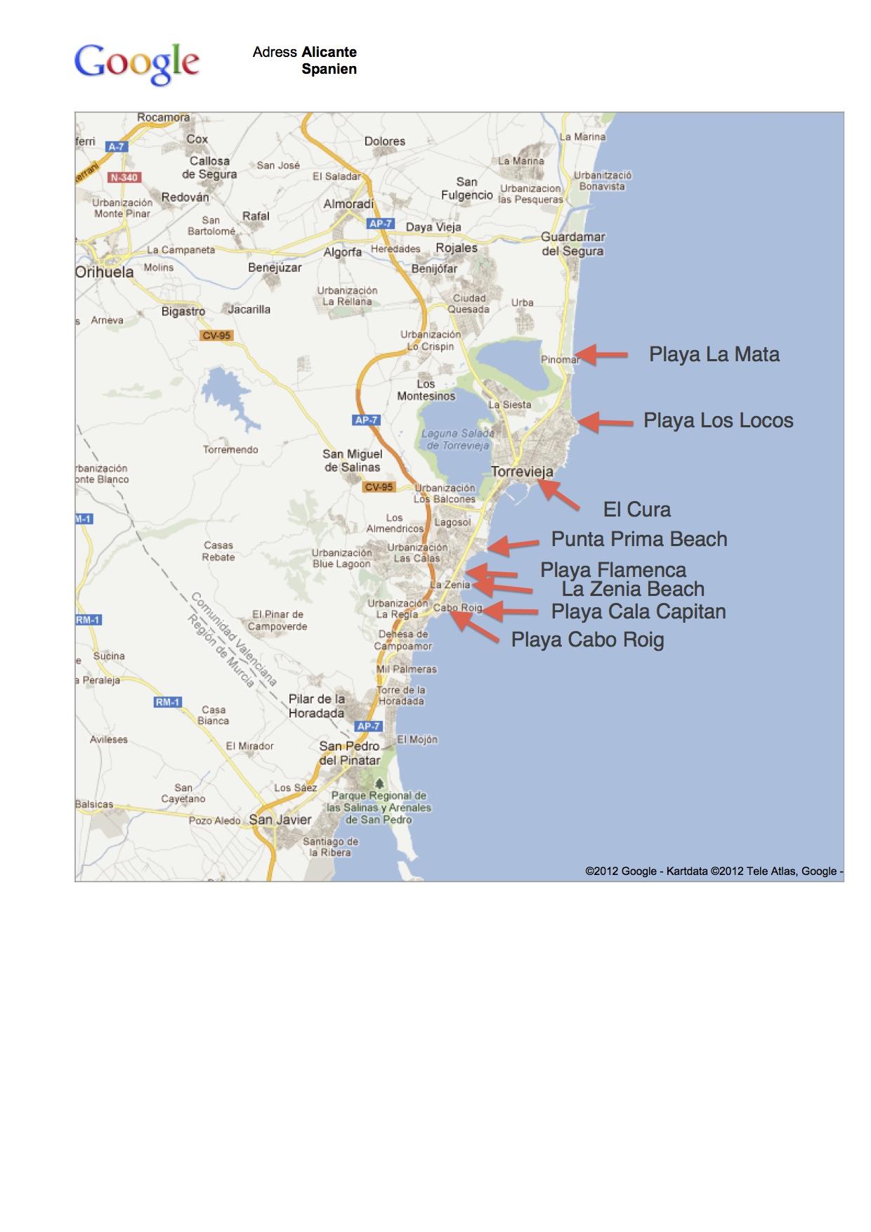 Karta Fran Alicante Till Torrevieja.Strander Badplatser Swespain